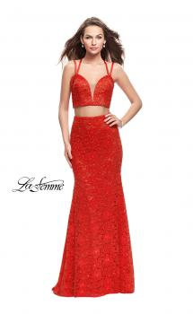 Picture of: Two Piece Mermaid Dress with Beading and Lace in Poppy Red, Style: 25771, Main Picture