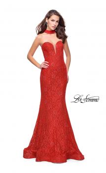 Picture of: Strapless Beaded Lace Mermaid Dress with T Back in Poppy Red, Style: 26261, Main Picture