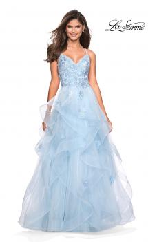 Picture of: Floor Length Tulle Dress with Floral Embellishments, Style: 27579, Main Picture