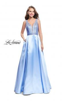 Picture of: A-line Pleated Satin Prom Gown with Metallic Beading in Powder Blue, Style: 26293, Main Picture
