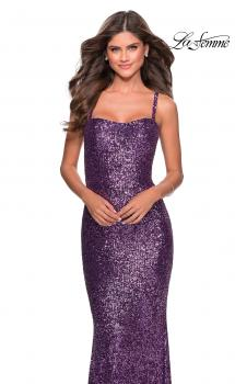 Picture of: Long Sequin Prom Dress with Straight Neckline in Purple, Style: 28698, Main Picture