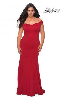 Picture of: Off the Shoulder Plus Size Jersey Prom Dress in Red, Style: 28963, Main Picture