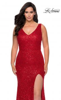 Picture of: Printed Sequin Plus Size Dress for Curves with V-Neck in Red, Style: 29001, Main Picture