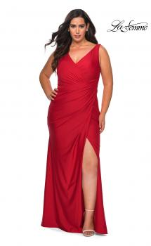 Picture of: Curvy Jersey Prom Dress with Ruching and Slit in Red, Style: 29024, Main Picture