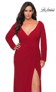 Picture of: Long Sleeve Curvy Prom Dress with Ruching in Red, Style: 29044, Main Picture