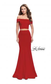 Picture of: Form Fitting Off the Shoulder Jersey Mermaid Dress in Red, Style: 25578, Main Picture