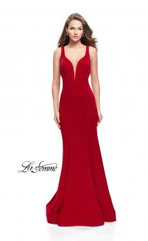 Picture of: Long Jersey Mermaid Dress with Deep V and Strappy Back in Red, Style: 25594, Main Picture