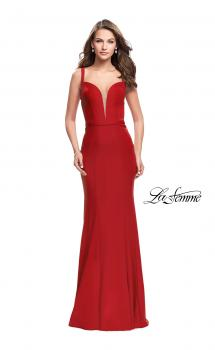 Picture of: Form Fitting Mermaid Prom Dress with Plunging Neckline in Red, Style: 25964, Main Picture