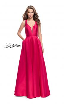 Picture of: Mikado A-line Prom Dress with Strappy Open Back in Red, Style: 26215, Main Picture
