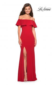 Picture of: Long Off The Shoulder Prom Dress with Side Slit in Red, Style: 27096, Main Picture