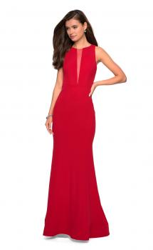 Picture of: High Neckline Jersey Prom Dress with Open Back in Red, Style: 27124, Main Picture