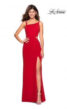 Picture of: Asymmetrical Jersey Prom Dress with Cut Outs in Red, Style: 27126, Main Picture