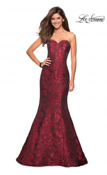 Picture of: Long Floral Jacquard Strapless Prom Dress, Style: 27149, Main Picture