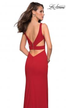 Picture of: Long Jersey Prom Dress with Cut Out Back Detail in Red, Style: 27181, Main Picture