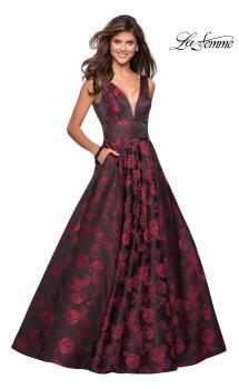 Picture of: Floral A Line Ball Gown with V Back and Pockets in Red, Style: 27298, Main Picture