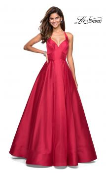 Picture of: Empire Waist Long Dress with Full Skirt and Pockets in Red, Style: 27504, Main Picture