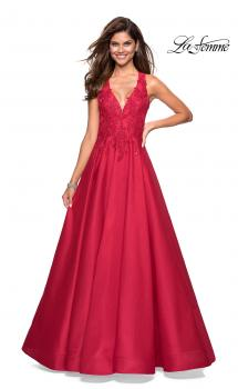 Picture of: Floor Length Mikado Gown with Lace and Rhinestones in Red, Style: 27529, Main Picture