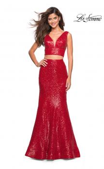 Picture of: Fully sequin Two Piece Floor Length Prom Gown in Red, Style: 27590, Main Picture