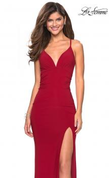 Picture of: Form Fitting Jersey Prom Dress with Criss Cross Back in Red, Style: 27622, Main Picture