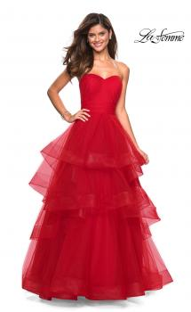 Picture of: Layered Tulle Strapless Prom Gown with Ruching in Red, Style: 27624, Main Picture