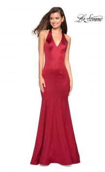 Picture of: Form Fitting Halter Satin Dress with Open Back in Red, Style: 27653, Main Picture