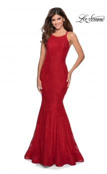 Picture of: Lace Prom Dress with Rhinestones and Strappy Back in Red, Style: 28140, Main Picture