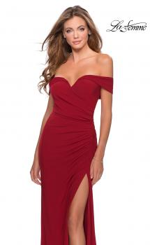Picture of: Off the Shoulder Fully Ruched Floor Length Gown in Red, Style: 28389, Main Picture