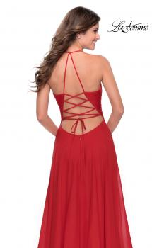 Picture of: Long Chiffon Prom Dress with Unique Lace Up Back in Red, Style: 28522, Main Picture
