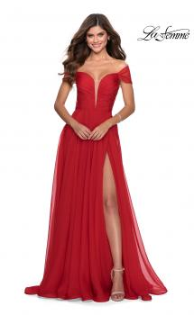 Picture of: Off the Shoulder Chiffon Gown with Plunging Neckline in Red, Style: 28546, Main Picture