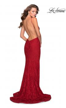 Picture of: Open Back Jersey Prom Dress with High Neckline in Red, Style: 28619, Main Picture