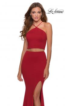 Picture of: Sleek Two Piece Pyramid Neckline Prom Dress in Red, Style: 28624, Main Picture