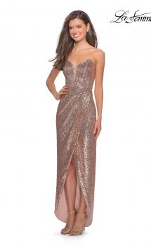 Picture of: Strapless Sequin Homecoming Dress with Tapered Skirt in Rose Gold, Style: 28180, Main Picture
