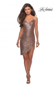 Picture of: Short Asymmetrical Sequined Dress with V-neckline in Rose Gold, Style: 28227, Main Picture