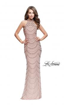 Picture of: Long Metallic Beaded High Neck Prom Dress in Rose Gold, Style: 25930, Main Picture