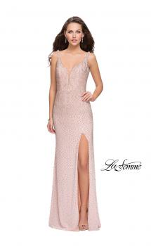 Picture of: Form Fitting Prom Dress with Metallic Beading and Slit in Rose Gold, Style: 25931, Main Picture