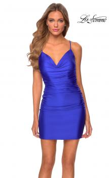 Picture of: Short Jersey Homecoming Dress with Ruching in Royal Blue, Style: 29260, Main Picture