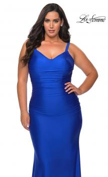 Picture of: Long Ruched Plus Size Jersey Prom Dress in Royal Blue, Style: 29005, Main Picture