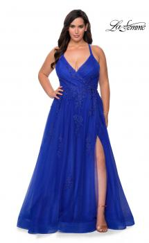 Picture of: Plus Size A-line Tulle Prom Dress with Floral Detailing in Royal Blue, Style: 29021, Main Picture