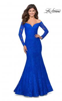 Picture of: Off the Shoulder Lace Long Sleeve Prom Dress in Royal Blue, Style: 28569, Main Picture