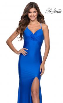 Picture of: Empire Waist Jersey Dress with Lace Up Back in Royal Blue, Style: 28584, Main Picture