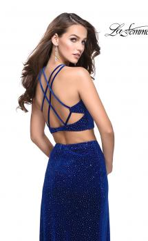 Picture of: Two Piece Velvet Prom Dress with Open Back and Leg Slit in Royal Blue, Style: 25464, Main Picture