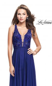 Picture of: A-line Prom Gown with Chiffon Skirt and Lace in Royal Blue, Style: 26061, Main Picture