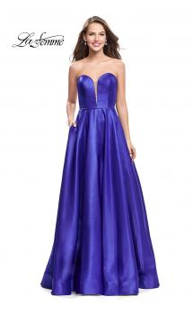 Picture of: Strapless Mikado A-line Gown with Pockets in Royal Blue, Style: 26088, Main Picture