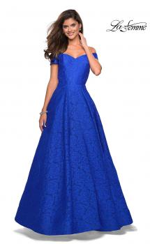 Picture of: Off the Shoulder Floor Length Dress with Rhinestones in Sapphire Blue, Style: 27556, Main Picture