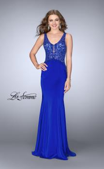 Picture of: Embroidered Jersey Prom Dress with Train in Sapphire Blue, Style: 24788, Main Picture