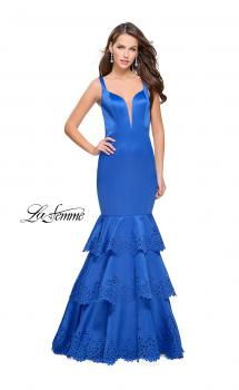 Picture of: Satin Prom Dress with Laser Cut Detail and Tulle Skirt in Sapphire Blue, Style: 25749, Main Picture