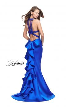 Picture of: Mikado Mermaid Dress with Embellished High Neckline in Sapphire Blue, Style: 25838, Main Picture
