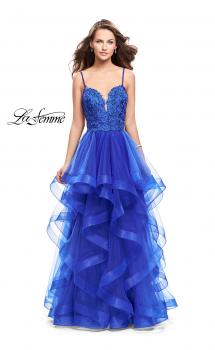 Picture of: Long Ball Gown with Tulle Skirt and Beaded Lace Bodice in Sapphire Blue, Style: 25857, Main Picture