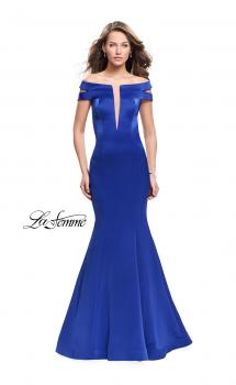Picture of: Satin Off the Shoulder Mermaid Prom Dress with V Neck, Style: 25903, Main Picture