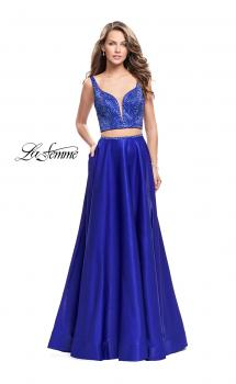 Picture of: Two Piece A-line Gown with Beading and Low Scoop Back in Sapphire Blue, Style: 25939, Main Picture